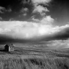 House (polarisandy) Tags: blackandwhite house film monochrome yellow clouds rolleiflex landscape moody wind analogue pennines planar 35f rolleiflex35f polarisandy