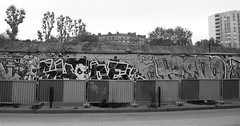 archologie (cjm-ellipse) Tags: bw streetart paris france graffiti site nb barrier ephemeral chantier paris13 barrire 75013 arturbain phmre ruebrillatsavarin cjmellipse