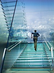 up (marianna armata) Tags: sky man glass clouds stairs young running applestore stairway staircase translucent seethrough transparent goingup mariannaarmata