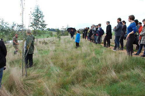 Field Trip group inspecting Taranaki Farm Keyline Forest