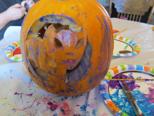 Painted and carved pumpkin