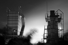 Sumitomo cement factory (StephenCairns) Tags: longexposure blackandwhite bw industry japan night   gifu  motosu   industrialphotography  canon50d 50mmcanonf14 50dcanon  sumitomocement  sumitomocementfactory