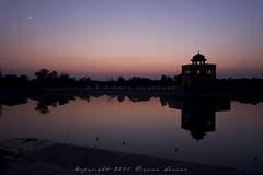 ZilHajj Moon over Hiran Minar (z) Tags: blue pakistan sunset sun moon lake tower silhouette architecture reflections arch view eid hour pavilion greetings moment za lahore f28 minar ssm tells  mughal 1635mm hiran blueribbonwinner  eiduladha zilhajj every  story ultimateshot  diamondclassphotographer flickrdiamond shiekhupura widescape variosonnart281635  zeisscontest2011 zeissphk12