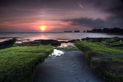 Bali Dreaming - Sunset (Maxwell Campbell) Tags: longexposure sunset bali green beach indonesia landscape rocks indo cemagi mengening canguu