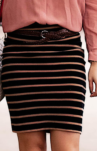 forever 21 peach black striped skirt