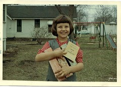Selling Girl Scout Cookies (pam's pics-) Tags: film vintage ks 1966 kansas swingset girlscoutcookies girlscout intheyard pammorris pamspics marysvillekansas