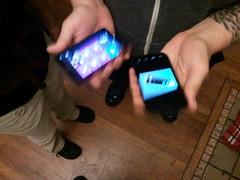 Myriam Joire juggles mobile phones