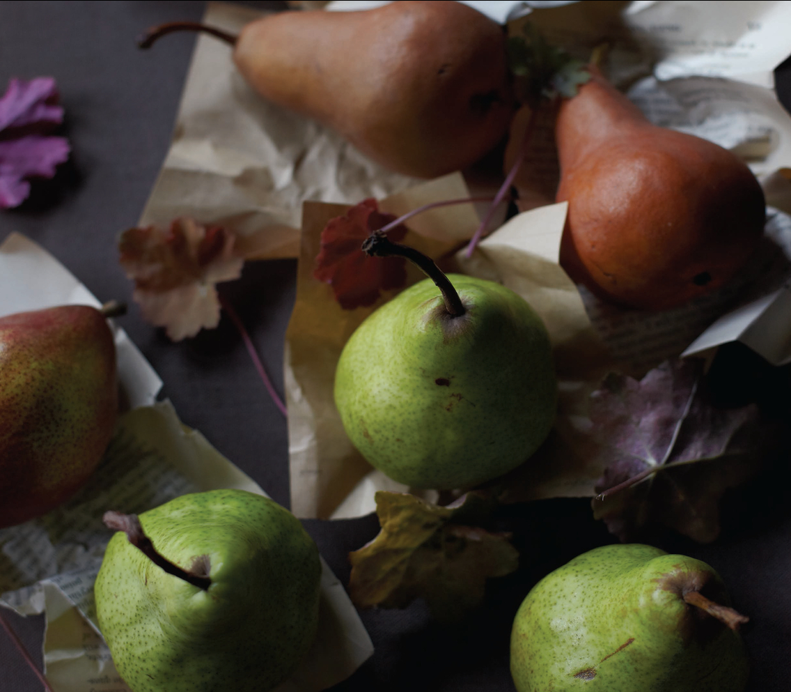 dark fall colors, gray, blue, pears, thanksgiving