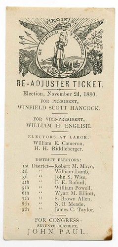 Virginia Readjuster Party ballot