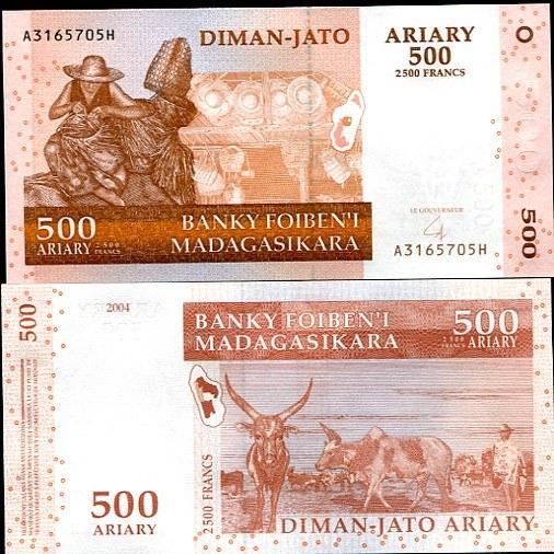 500 Ariary = 2500 Francs Madagaskar 2004, Pick 88