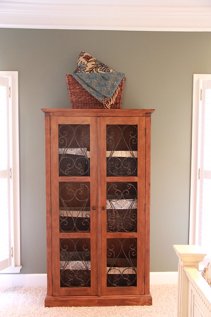 wooden and wrought iron bookcase from Pier One