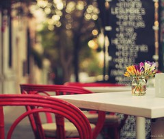 Another lazy Sunday afternoon (nina's clicks) Tags: 2 menu table explore blackboard redchair freesias fresias sillaroja 13nov2011