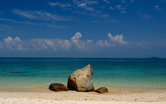 Ocean View, Perhentian Islands, Malaysia (papalegua1) Tags: ocean travel blue summer sky sun beach nature water sunshine stone clouds island sand nikon holidays asia paradise view f14 14 natur malaysia tropical lonely 24mm perhentian d90 24mmf14g