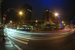 315/360 - Metamorphosis (mlNYs) Tags: red white color cars night lights nikon traffic fx luxembourg manfrotto boulevardroyal nikoniste d700 360project mlnys nikkor16mmf28dfisheye 16nov2011