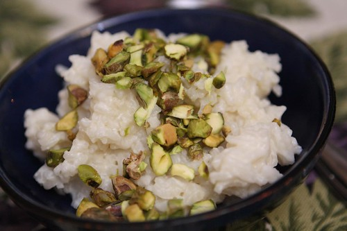 Coconut Rice Pudding with Chopped Pistachios