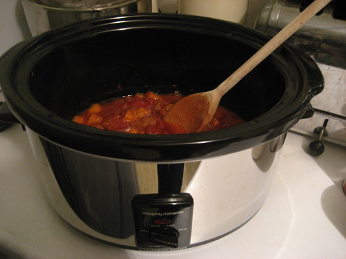 Slow cooker with chorizo & sweet potato stew