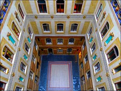 Inner court and staircases in Palais Equitable, Vienna (jackfre2 (on a trip-voyage-reis-reise)) Tags: vienna wien windows art austria colours perspective officebuilding staircases innercourt innerestadt palaisequitable mygearandme mygearandmepremium dblringexcellence tplringexcellence artistoftheyearlevel2 flickrstruereflection1 flickrstruereflection2
