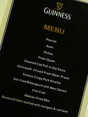 Guinness paired with Chinese food - menu