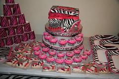 Pink Zebra Cake, Cupcakes & Cookies (Kiss My Buttercream) Tags: pink cake cookie cupcake zebra heel ribbon shoebox