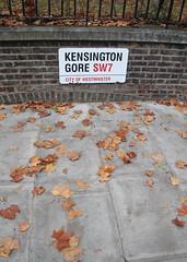 Kensington Gore (likrwy) Tags: street autumn london fall westminster leaves sign pavement sidewalk gore kensington sw7