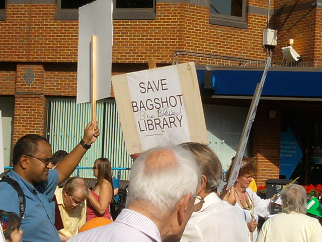 Campaigners outside Woking Library