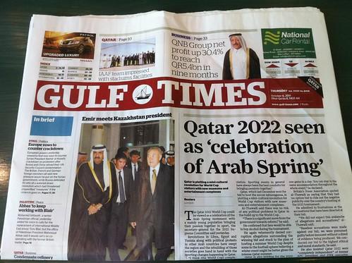 Gulf Times headline in Doha, Qatar on October 6, 2011