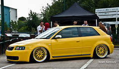 Yellow S3 (Adam Kennedy Photography) Tags: show summer adam car yellow vw volkswagen manchester bash nikon awesome wheels split gti audi rims s3 bbs kennedy alloys detailed unphased airsuspension d7000