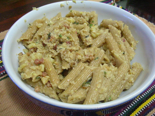 The Pasta Man - Pasta with corn pesto and bacon (original)
