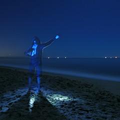Jack (DieselDemon) Tags: ocean longexposure lightpainting beach water santabarbara night sand startrails steelwool