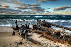 Whitefish Point, Driftwood, Pier and Freighter (Brian Callahan (Luxgnos.com)) Tags: clouds pier michigan driftwood upperpeninsula whitefishpoint briancallahan shinsanbc mygearandme mygearandmepremium mygearandmebronze mygearandmesilver luxgnosphotography luxgnosis luxgnosiscom