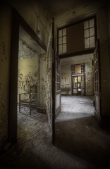 Sanatorium E  ::   (explore) (andre govia.) Tags: door light abandoned buildings hospital chair closed decay down andre explore doorway split sanatorium asylum derelict ue sanitarium govia exploreing