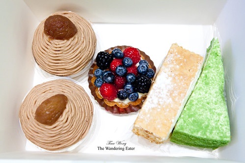 Box #2 - Individual Mont Blancs, Fruit Tart, Strawberry Mille Feuille, Green tea mousse cake