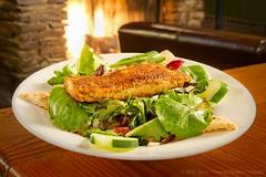 Blackened Salmon Salad (AtlantaTerry) Tags: wood atlanta food usa umbrella georgia table pub nikon fireplace whiteplate woodtable pubfood gitzotripod micronikkor55mmf35 d3s blackenedsalmonsalad twosilverreflectorboards manfrottogearedhead