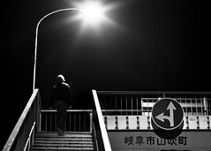 looking for light (StephenCairns) Tags: blackandwhite bw selfportrait me japan night 日本 岐阜 gifu 50mmf14 drizzle contrasty selfie 夜 白黒 岐阜県 canon50d 岐阜市 50dcanon doyoustarttolosesomeselfconsciousnessafterhavingdonethisforawhile gettinglotsoflooksfrompassersbywhostopatthecornerwaitingforthelighttoturn meafterrunningupanddownthestairscusmy50ddoesnthavearemoteshuttersoihavetousethe10sectimer undoubtedlythinkingthatthoseforeignersdostrangethings