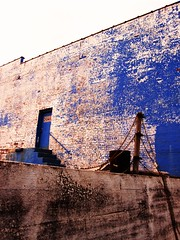 the old Napa Auto Parts building (LauraSorrells) Tags: blue building brick wall georgia downtown jasper pov weathered smalltown