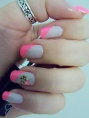 Unha Mini Saia [EXPLORED] (x_Jess) Tags: pink art nail mini borboleta hits saia unha meio esmalte francesinha