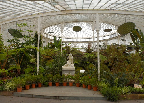 Glasgow Botanical Garden Kibble Palace greenhouse glasshouse plants eve statue