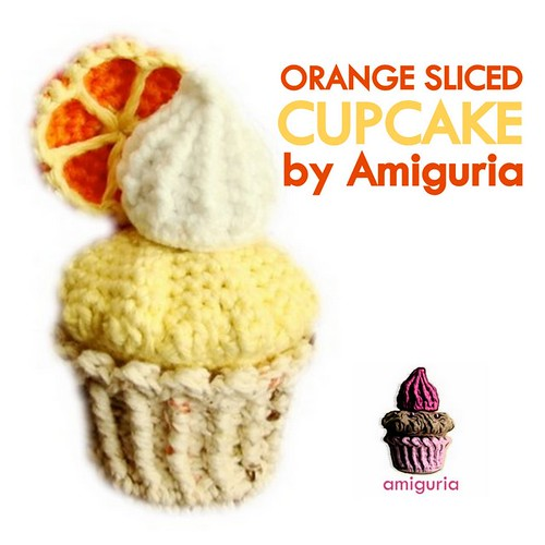 Orange Sliced Cupcake Amigurumi by Amiguria by Amiguria