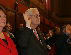 Rep. Betts takes the oath of office during the first day of session