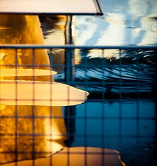 ~ interpret ~ imaginez ~ (Janey Kay) Tags: distortion paris reflection water reflections square explore squareformat abstraction bp spiegelung reflets carr goldandblue formatcarr october2011 janeykay oretbleu nikond300s samyang85mm14 goldundblau octobre2011