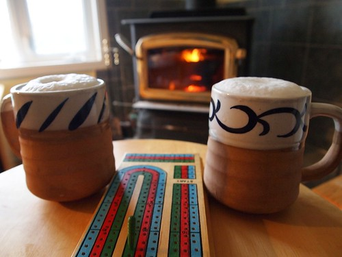 cribbage, lattes & a fire.