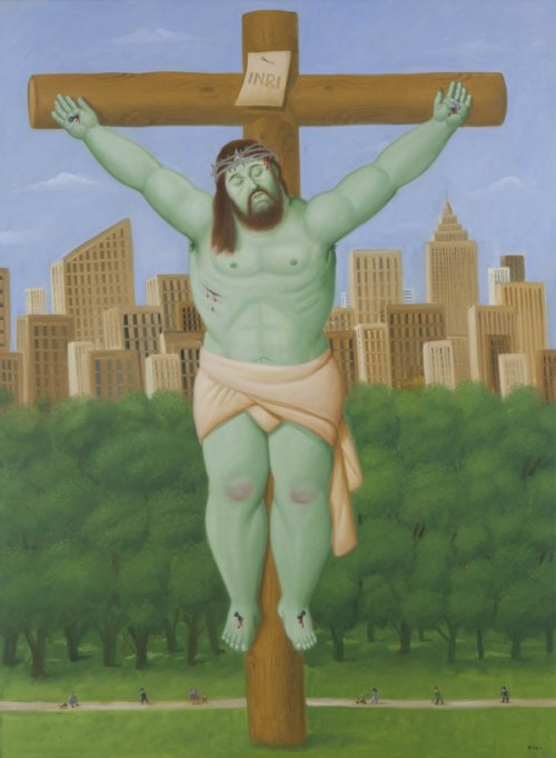 Botero_Crucifixion_2011_oil_on_canvas_81_1_8_x_59_in