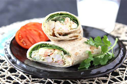 ... - Healthy Shrimp Sandwich Wrap with Curry Yogurt & Spinach Recipe