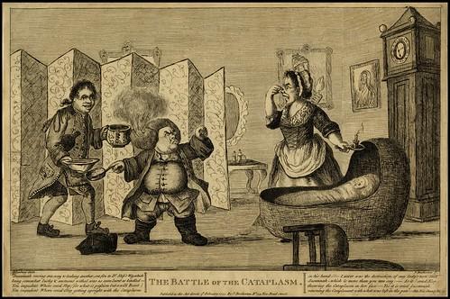 внутренний гравюры комната с люльки, короткие парень с огнем в свой парик и леди проведение нос