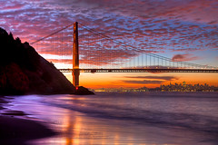 Happy Birthday Golden Gate Bridge! (Jeffrey Sullivan) Tags: california county bridge copyright usa seascape beach jeff nature clouds sunrise canon landscape golden bay october gate san francisco day cityscape cloudy marin goldengatebridge area headlands sullivan northern 2011 5dmarkii