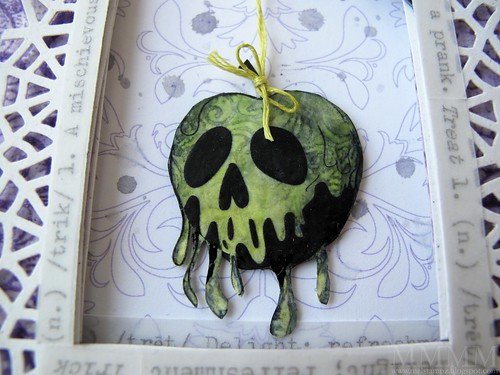 embroidery floss stiffened with glue- snow white poison apple card