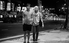 spotlight (i.am.syahir) Tags: old blackandwhite bw slr art girl smile night analog 50mm still asia natural kodak hijab malaysia kualalumpur analogue manual potrait kl manualfocus lumpur potraiture konicaminolta rokkor rokkor50mmf14 kodakblackandwhite400cn