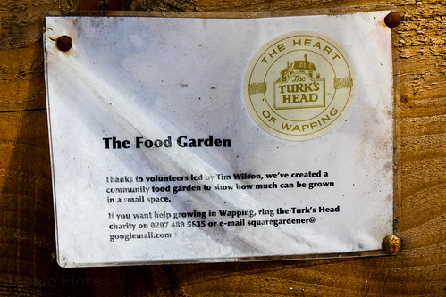 Turk's Head Food Garden Sign at the Turk's Head Cafe - Wapping