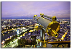 The Million Dollar View......... (M. Shaw) Tags: lighting bridge sunset paris building history water architecture night clouds canon lights europe cityscape eiffeltower historic telescope lighttrails bluehour cloudynight 1635mmf28l mshaw 5dmark2 canoneos5dmarkll nightsbestimages