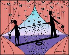portfolio семья любовь игра искусство спектакль море мужчина женщина двое бабочки картина портфолио тени рисунок иллюстрация ножницы графика изображение атмосфера художник быт декорация иллюстратор